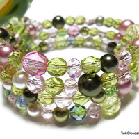 Bracelet Jewelry Beaded Memory Wire Wrap Stack Multi Layer Pinks and Greens Swarovski Pearls Crystals Czech Glass by PinkCloudsAndAngels