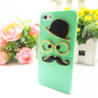 Green Chaplin Dumb Show 3D Gentleman Mustache Case Cover for iPhone 5 5s