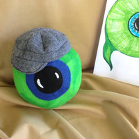 "Jack Septic Eye Plushie!  With Grey Newsboy Hat! 5.5"" Round Plush Ball/Toy. jacksepticeye Youtuber, Cotton Fabric."