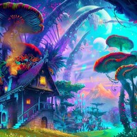 The Mushroom Realm  - Trippy Canvas Prints & Posters