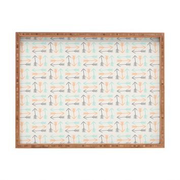 Allyson Johnson Peachy Arrows Pattern Rectangular Tray