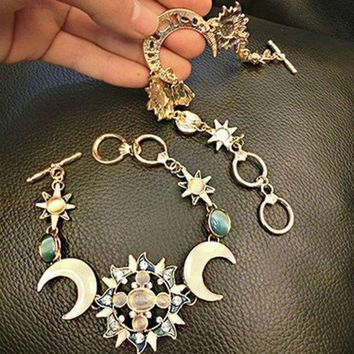 CREYUG3 Fashion Bohemian Style Asymmetry Sun Moon Star Bracelet Fashion Rhinestone Jewelry Silver Gold Boho Hippie BL-0437 = 1928656644