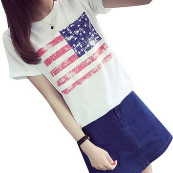 Short Sleeve T-shirt with American Flag Print