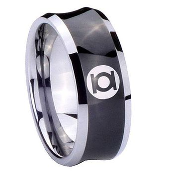 8MM Black Concave Green Lantern Two Tone Tungsten Carbide Laser Engraved Ring