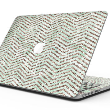 Brown and Green Glimmer Chevron - MacBook Pro with Retina Display Full-Coverage Skin Kit