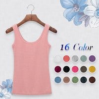High Quality 16 Colors Summer Style Women Tank Top Camisole Cotton Slim Ladies Thin Vest Bralette