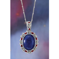 Lapis Garnet and Marcasite Sterling Pendant 24in - New Age, Spiritual Gifts, Yoga, Wicca, Gothic, Reiki, Celtic, Crystal, Tarot at Pyramid Collection