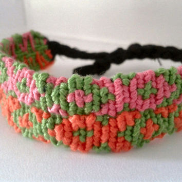 Fish Pattern Alpha Friendship Bracelet -  Adjustable Hand-woven Embroidery Floss Bracelet