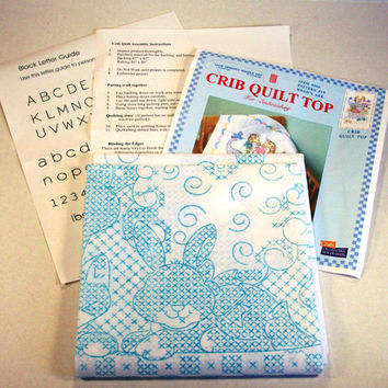 Crib Quilt Top, Embroidery, Noahs Ark, Pattern, Cross Stitch, Jack Dempsey, Needle Art, Nursery, Destash