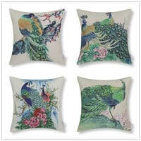 Beautiful Peacock Decorative Throw Pillow Kussen Coussin Cuscini 45x45cm Nordic Cushions Almofada Escritorio Cojines Decorativos