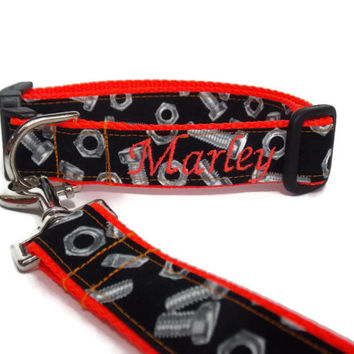 Personalized Dog Set Gear Head Nuts and Bolts on Neon Red - Collar and Leash Set - Pet Bundle