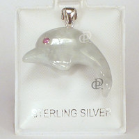 Pale Green Jade Dolphin Pendant Sterling Silver Bail