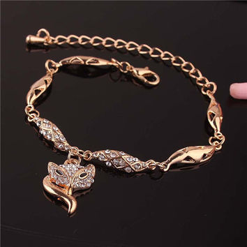 Fox, Peafowl,Heart,Crown,Flower Shaped 14K Gold Plated Bracelets&Anklets For Women Fashion Jewelry