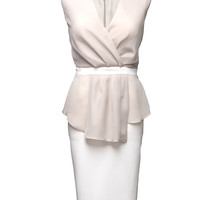 Elegant Peplum Beige Dress with Pencil Skirt and Flounces Georgette  Summer Wedding Party  Meeting Plus size