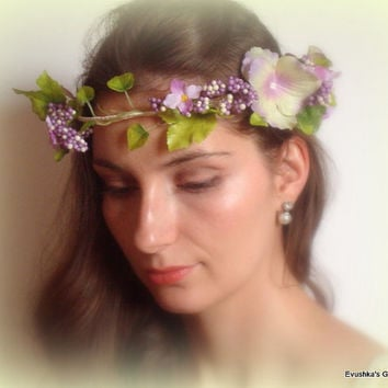 Woodland purple and yellow hair crown Greek wedding crown Greek headband Greek goddess Grecian headband Festival crown Boho flower crown