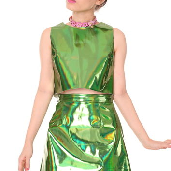 Glitters For Dinner — Made To Order - Green Holographic Motel Set