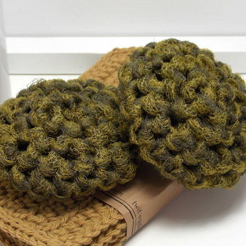 Reusable Dish Scrubbers - Olive Scouring Pads - Handmade Scrubbies - Set of 2