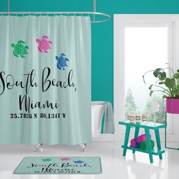 South Beach, Miami Coordinates Shower Curtain - Sea Turtles Shower Curtain beach, coastal, Florida