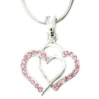 Elegant Mini Silvertone with Pink Crystal Rhinestone Double Hearts Charm Pendant Necklace Fashion Jewelry