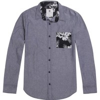 On The Byas Zach Printed Pocket Long Sleeve Woven Shirt - Mens Shirt - Black