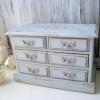 Gray Vintage Jewelry Box, French Country Wooden Jewelry Holder, Grey Blue Distressed Jewelry Chest, Gray and Gold Jewelry Box, Gift Ideas