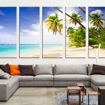 Large Wall Art - Beach and Palm -  Ocean View Canvas Print, Seascape Canvas Print, Large Wall Art Print, Sunset and Ocean Beach Canvas Print