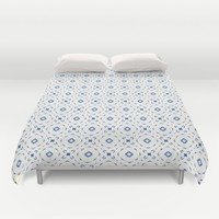 Acrylic Blue Square Dots Duvet Cover by Doucette Designs