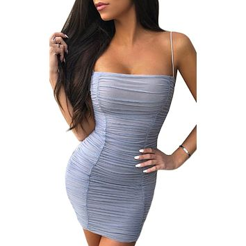 Hard To Miss Sheer Mesh Sleeveless Spaghetti Strap Square Neckline Ruched Bodycon Mini Dress
