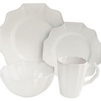 16-Pc Scallop Set, White, Dinner Plates