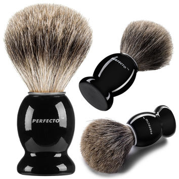 Perfecto 100% Pure Badger Shaving Brush-Black Handle- Engineered for the Best Shave of Your Life. For Safety Razor Double Edge Razor Staight Razor or Shaving Razor Its the Best Badger Brush.