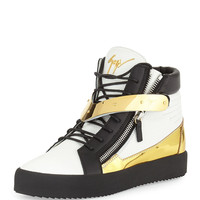 Men's Tricolor Leather High-Top Sneaker, White/Black