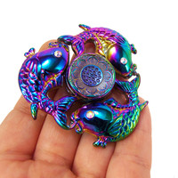 Fish fidget spinner, nautical fidget spinner, fish scale fidget spinners, fish scales, rainbow titanium, rainbow hand spinner, metal gyro