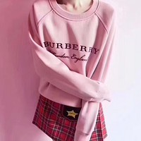 ''Burberry'' Fashion Long Sleeve Pullover Sweatshirt Top Sweater