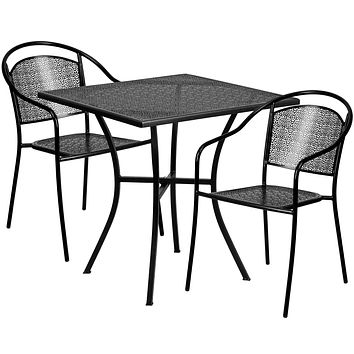 28'' Square Indoor-Outdoor Steel Patio Table Set with 2 Round Back Chairs: Black