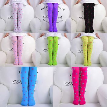 Child Girls Footed Heart Dots Tights Stockings Ballet Candy Colors Opaque  Stock