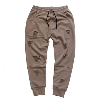 Long Live the Youth Distressed Taupe Joggers
