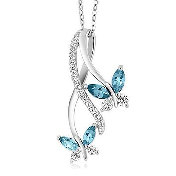 Womens Necklace Gift Ideas Mother and Child Butterfly Blue Topaz Necklace in 18K White Gold Plated