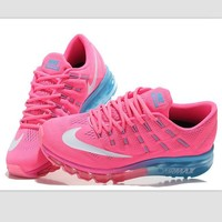 """NIKE"" Trending Fashion Casual Sports Shoes AirMax Toe Cap hook section knited Pink wh"