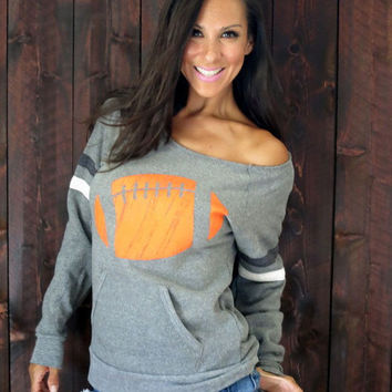 Football Print Loose Sweater