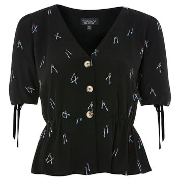 Arrow Embroidered Blouse - Shirts & Blouses - Clothing