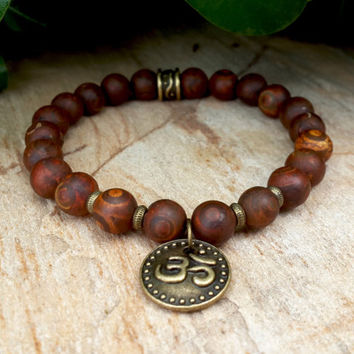 Namaste Bronze Ohm Charm Mala Mens Bracelet, Brown Turtle Agate, Peace Spiritual Om Meditation, Prayer Beads, Jewelry Gifts For Her, For Hi
