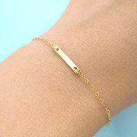 Tiny, Bar, Minimalist's Bracelet, Goldfilled, Jewelry, Simple, Dainty, Bracelet