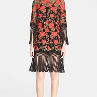 Women's Dolce&Gabbana Floral Embroidered Minidress with Macrame Fringe