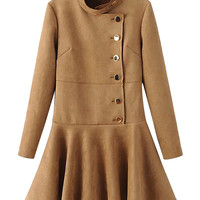 Khaki Faux Suede Stand Collar Side Button Up Skater Dress
