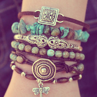 Boho Leather Wrap Bracelet - Turquoise - Stackable - Bohemian Stacking Layering Bracelet
