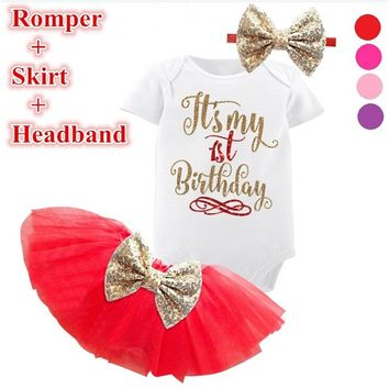 Toddler Girl Baby Cake Outfits Gold Sequins Baby Girl Tutu 6M 1st 2nd Birthday Dress For Infant Party Dress Kids Baptism Clothes
