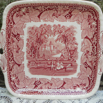 "Masons Vista Red Transferware Ironstone Old Square Cake Plate 10"" - English Transferware - Red - Transferware"