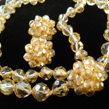 Signed Vogue Faceted Golden Crystal Double Strand Necklace & Earring Set Vintage Signed