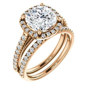 Cushion Moissanite Diamond Accent Ice Halo Cathedral Ring