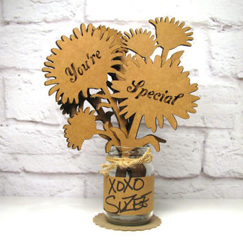 YOU'RE SPECIAL - Corrugated Cardboard Flowers Bouquet In Mini Mason Jar Great Gift Idea